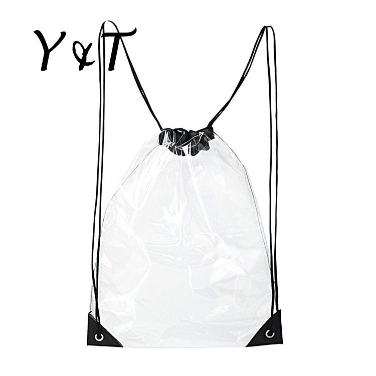 Top quality Fashion Recyclable PVC Beach Clear Waterproof Drawstring Bag