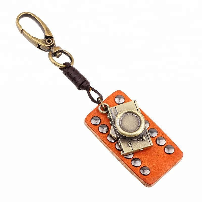 Fashion Mini Camera Shaped Studded Leather Keychain Alloy Cowhide Key Chain