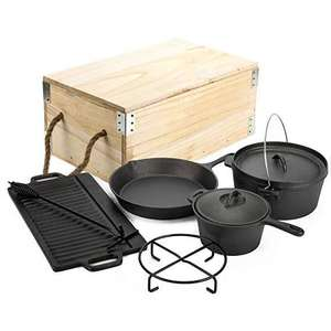 Non-stick Cookware Sets 7 pieces Camping Skillet Frying Pan Dutch Oven Griddle