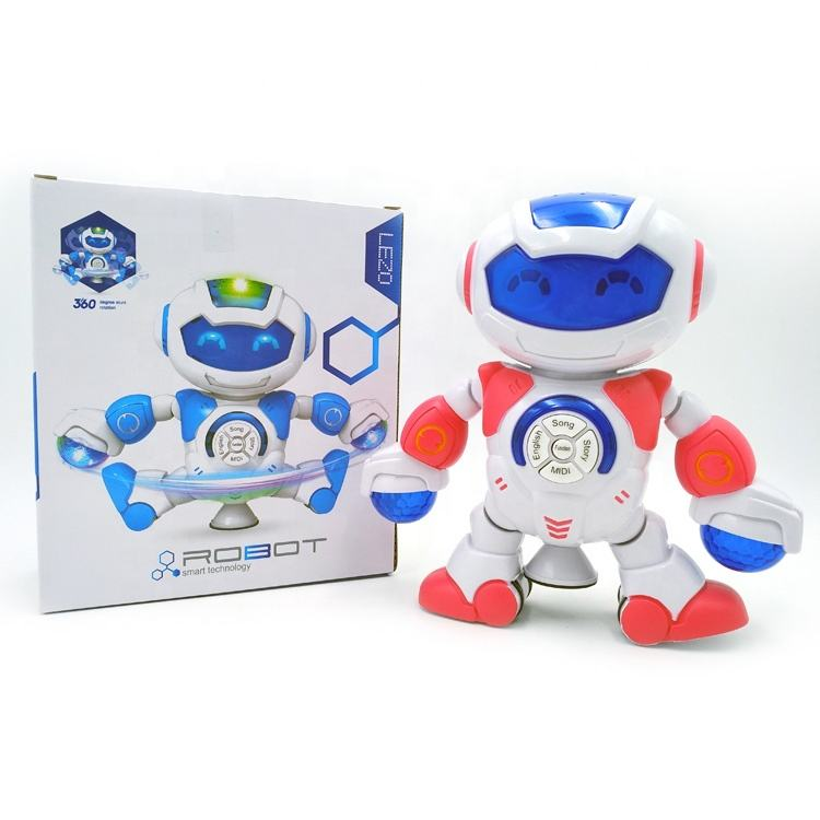 New arrivals Hot Sale Promo 360 degree Rotates With Light dancing,music intelligent toy smart robot robot toy educational