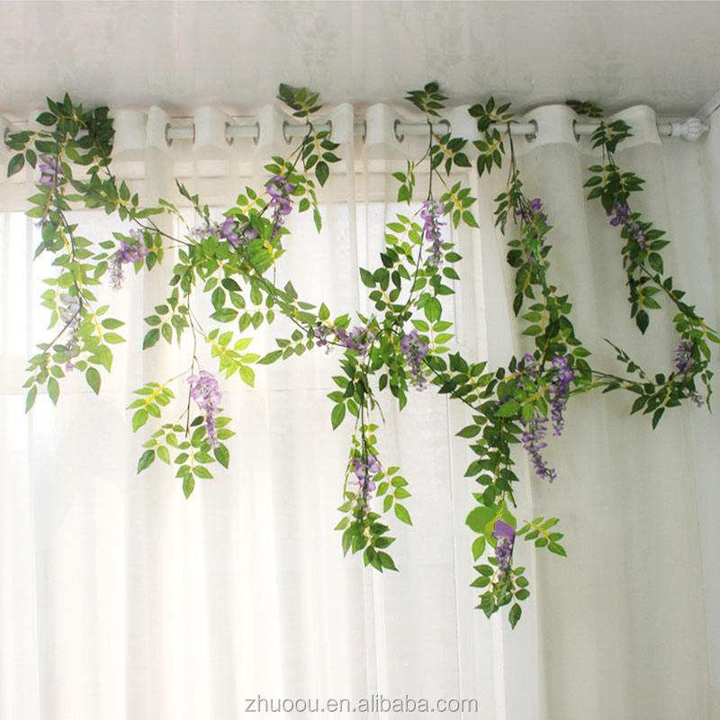 Zhuoou Decoration Silk Long Length Purple Dried Flower Artificial Wisteria Vine for Home Wedding