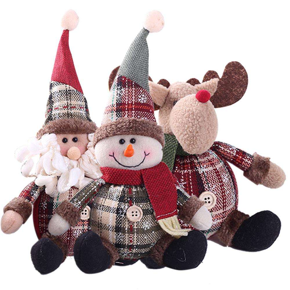 Hot Selling Sitting Santa Snowman Deer Shaped Doll Christmas Tree Hanging Ornament Xmas gift for children