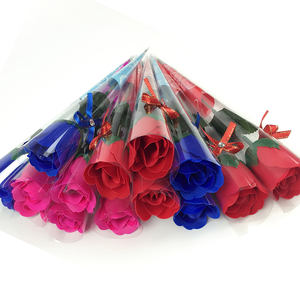 Wholesale cheap red rose soap artificial flowers for Christmas