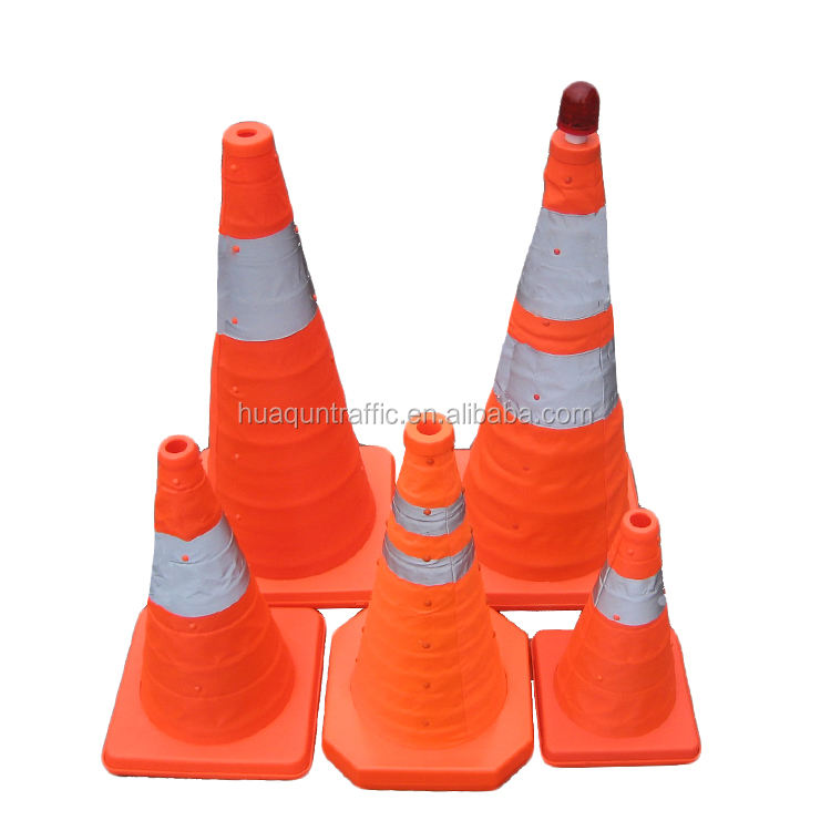 Reflective 300mm 450mm 700mm construction cones foldable led light traffic cone
