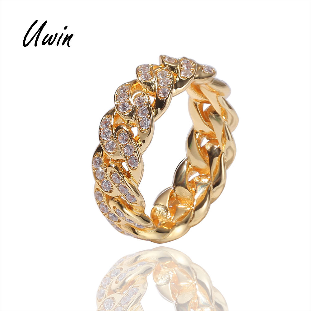 Iced Out Zirconia Cuban Chain Rings for Men 18K Gold Plated Cuban Ring CZ Diamond Jewellery