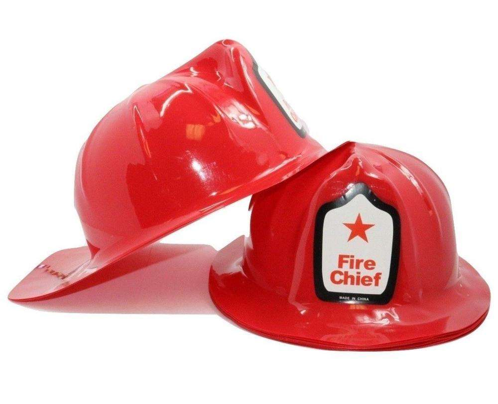 Adult Fireman Helmet w// Visor Fire Chief Fighter Man Firefighter Red Costume Hat