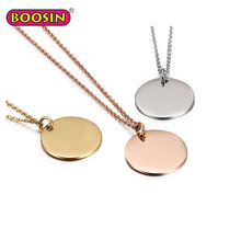 Wholesale custom metal charms necklace round pendant gold of Guangzhou