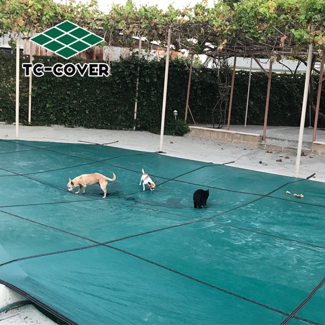 Anti-aging polypropylene custom size safety swimming pool cover for any outdoor pool or indoor pool and spa