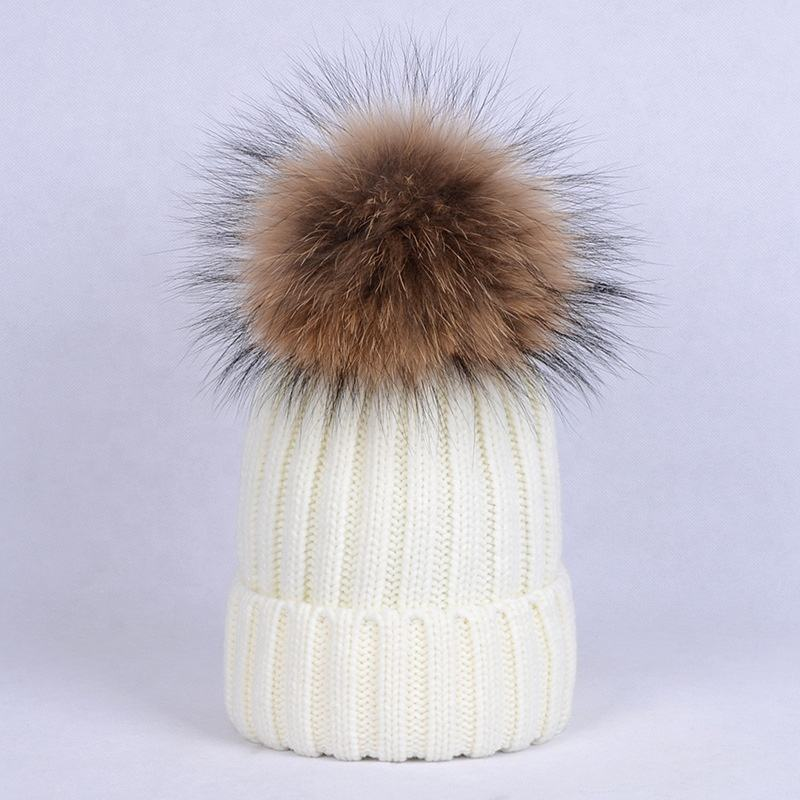 Customised embroidered acrylic winter women waffle knit white beanie hat with raccoon pom pom