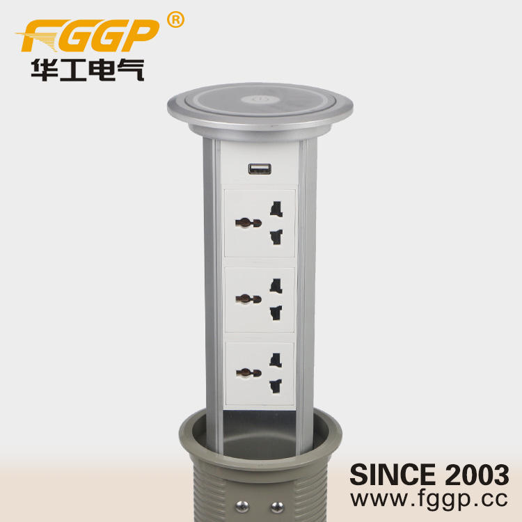 Intelligent Lifting Hidden Kitchen Tabletop Pop up Electrical Connection Power Socket With Box and USB Charger