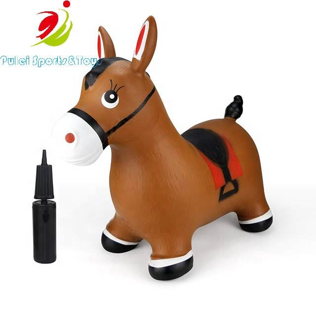 Bouncy Horse Hopper- Brown Inflatable Jumping Horse  Ride on Rubber Bouncing Animal Toys for Kids/ Toddlers