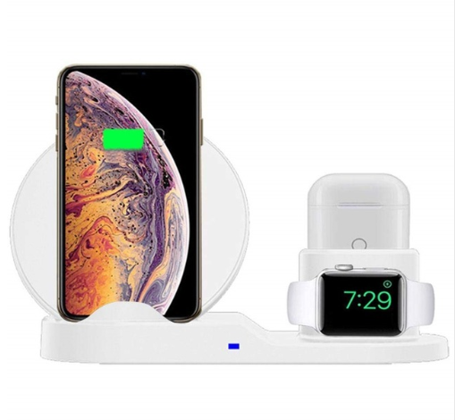 Portable 3 in 1 Qi standard wireless charger 10w fast charging for apple samsung+apple watch+earbuds
