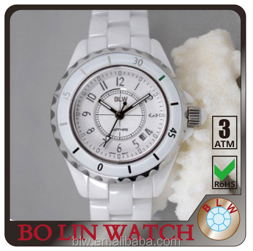 pure White Ceramic Wrist waterproof watches For Couples online