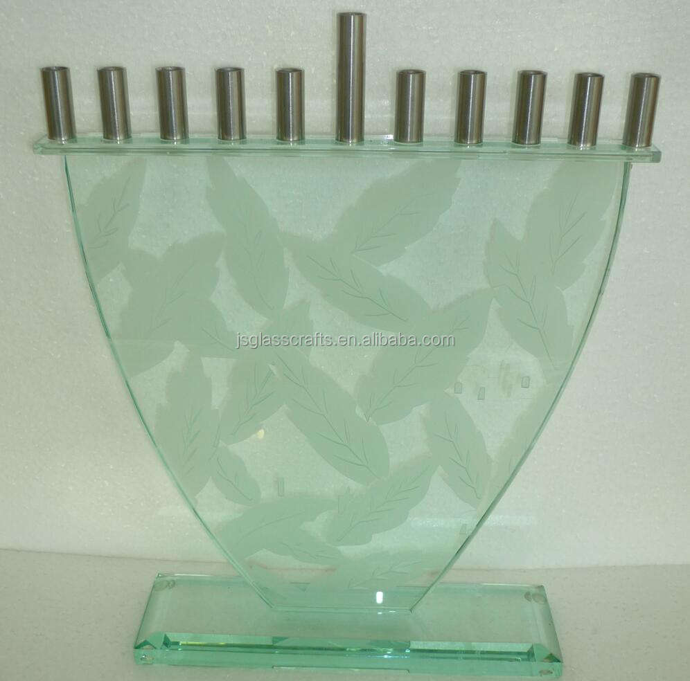 Jewish glass menorah for hanukkah judican candlestick for chanukah jerusalem candle holder
