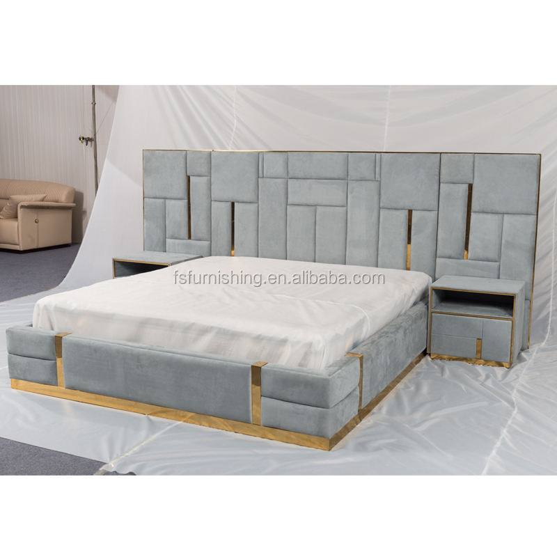 C1808 Grey velvet fabric magnificent high headboard with stainless steel customized good price soft bed sweet bedroom furniture