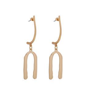 Fashion Simple Gold Plated Geometric Earring Long U Shape Pendant Alloy Drop Earring For Women Gift
