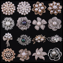 Custom High Quality Gold Silver Jewelry Metal Brooches For Clothes Pearl Rhinestone Flower  Brooch Pins For Women