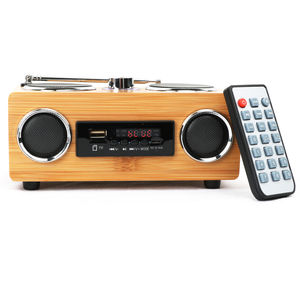 India hot selling bamboo unique multifunction mid bass large wireless retro radio speaker for pc and laptop