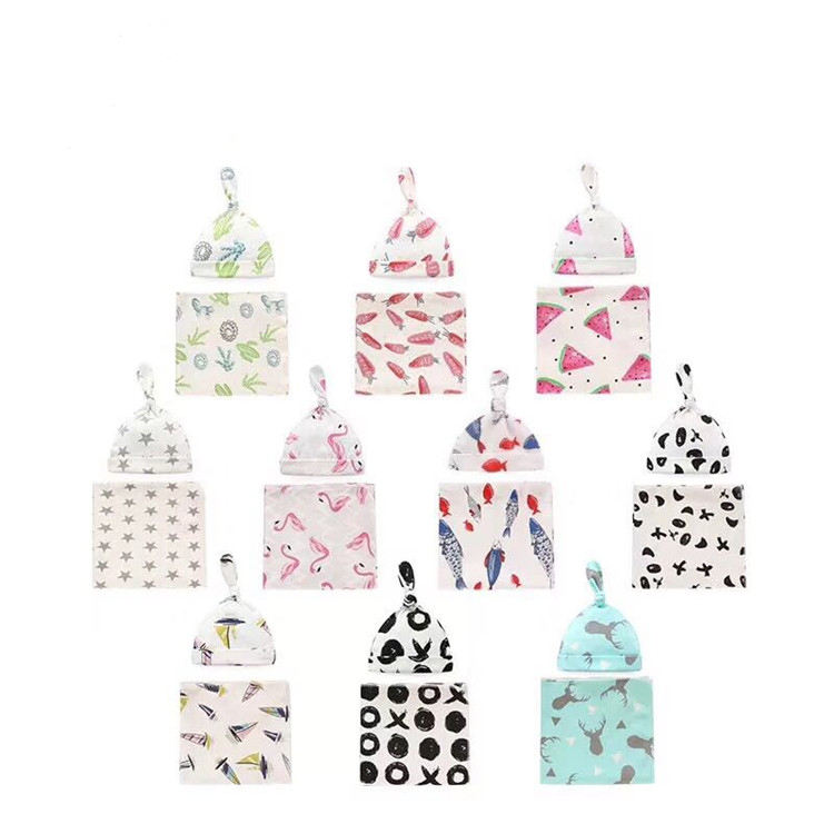 Newborn cotton swaddle baby cap +blanket set baby quilted blanket summer cover blanket infant