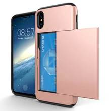 ShockProof Slim Double Card Holder Mobile Phone Shell For iPhone xs Case, Wallet cell phone case for iPhone xs