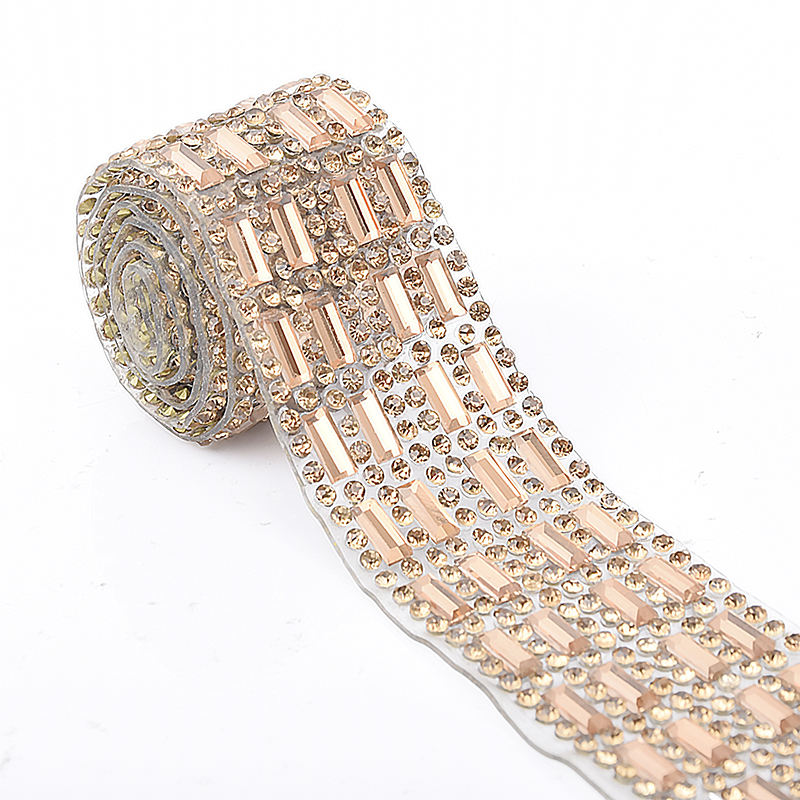 LOCACRYSTAL brand new design rhinestone trim for wedding belt high quality rhinestone chain crystal trims