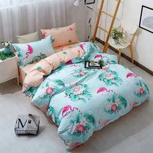 Full size 100% cotton printed flamingo bedding set