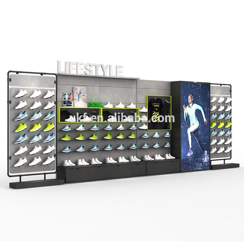 Retail sports shoes shop fixture free standing wood shoes display wall rack
