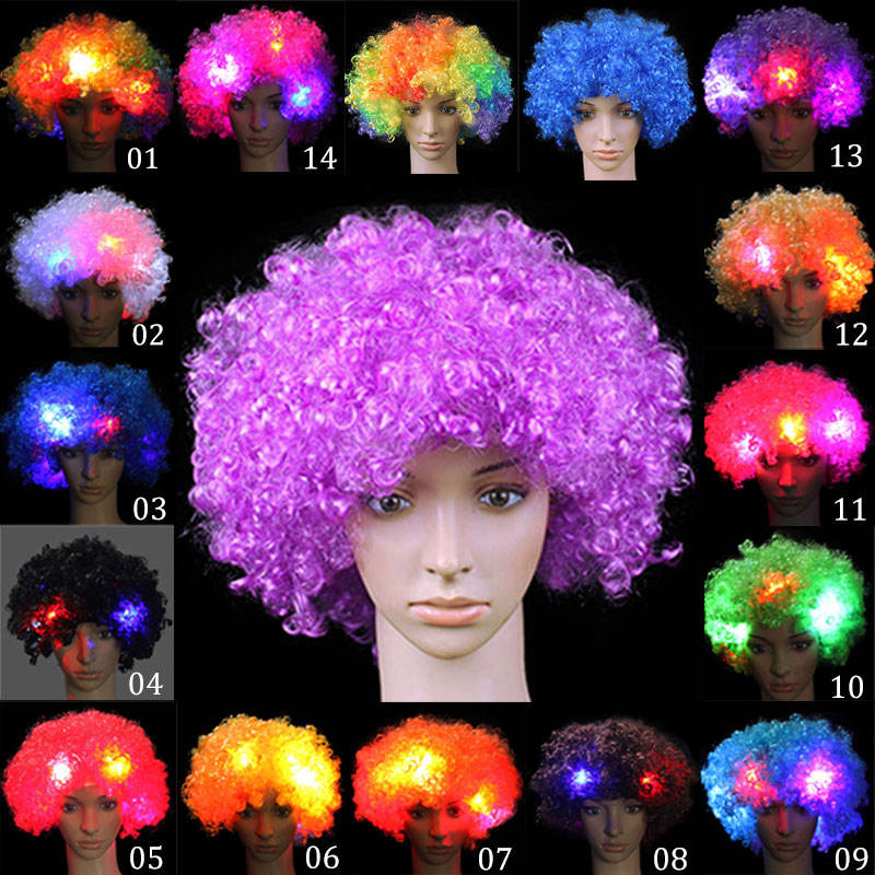 Fancy LED Light Curly Hair Wigs Halloween Costume Party Supplies New Cosplay Unisex Clown Mask Funny Toy