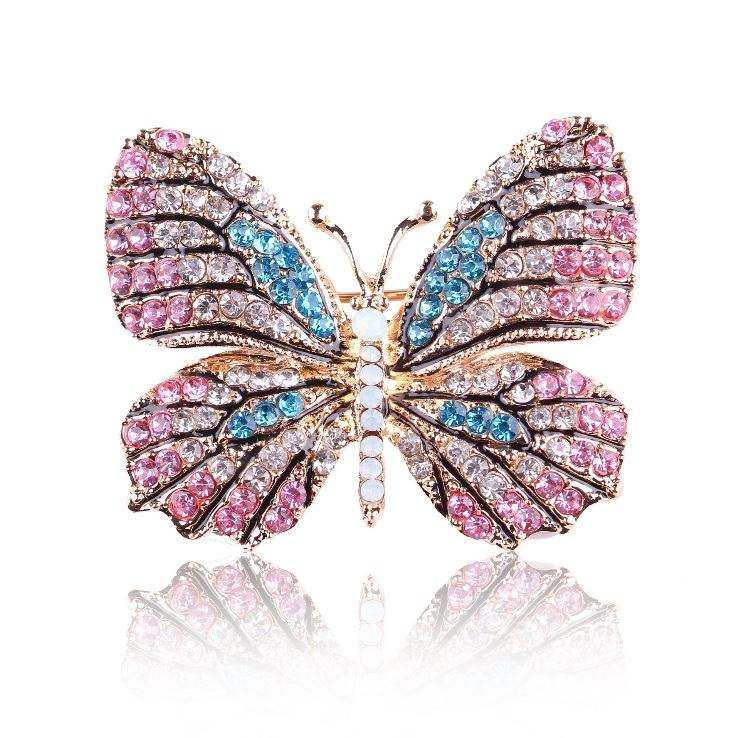 High Quality Trendy Rhinestone Butterfly Brooch Gold Colors Women Wedding Dress Bridal Brooches