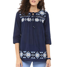 Wholesale Fashional Blue Embroidery Women Top
