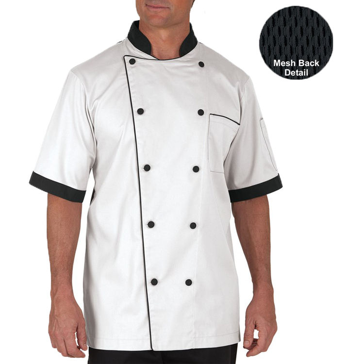 Summer Men's Traditional Half Back Mesh Chef Coat