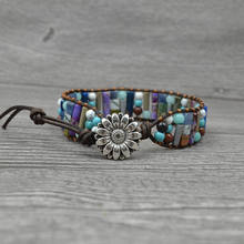 Boho Vintage Agate Turquoise Hematite Bracelet Leather Woven Natural Stone Bracelet with Sunflower Charm