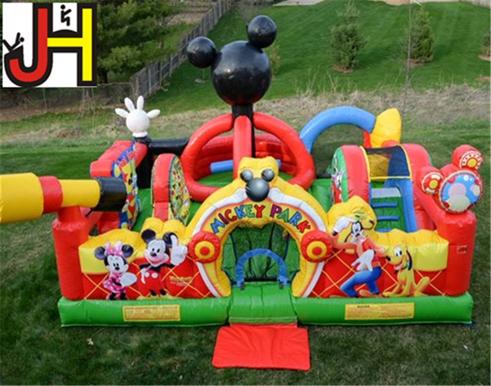 Customized Commercial Inflatable Mickey Mouse Park, Inflatable Playing Arena For Toddler, Inflatable Bouncy Castle