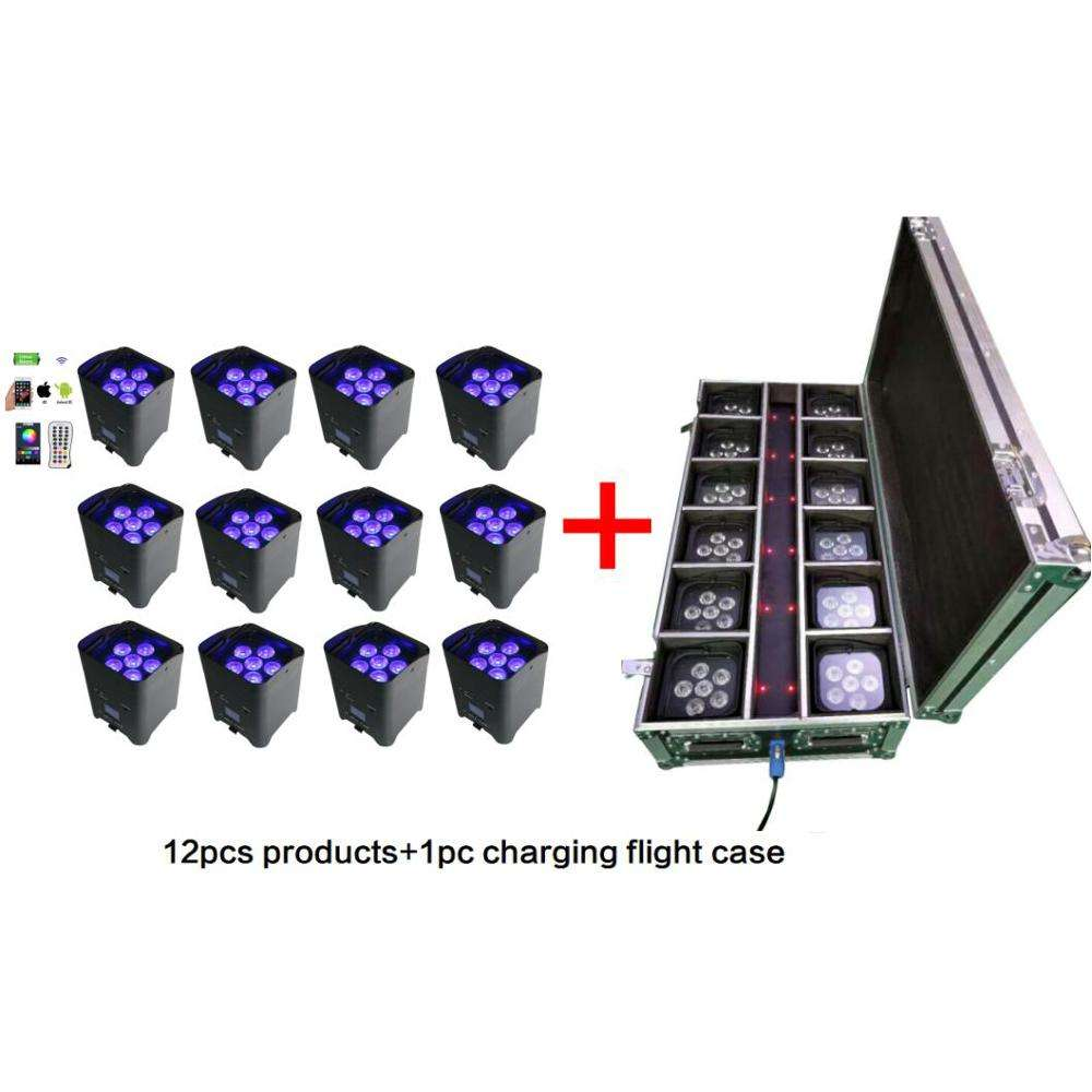 batch: 12pcs products and 1pc flight case 6x12w 6in1wifi wireless dmx battery powered led uplight
