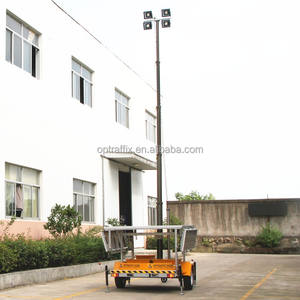 Teleskopik Tiang Baterai Malam Scan Trailer Portable Light Tower LED, Listrik Darurat 12V Ponsel Solar Light Tower