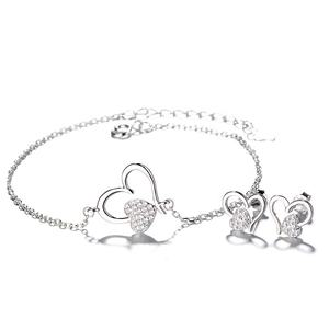 Latest Jewelry Heart 925 Sterling Silver Earrings Bracelet Jewelry Set