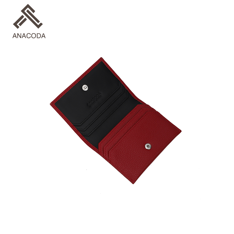 Characteristics Top Quality Genuine Leather Top Grain Leather Red Card Holder For Business Card