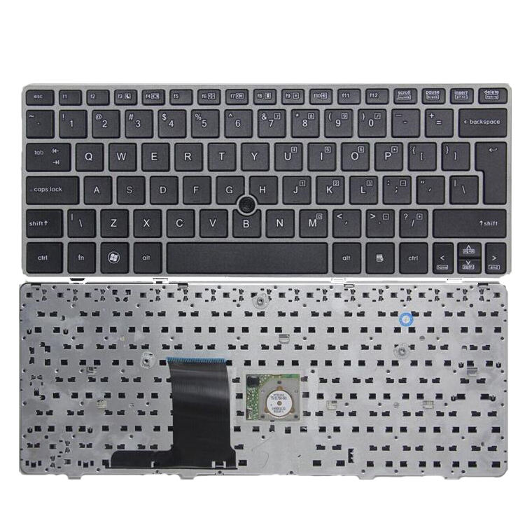 US layout laptop keyboard for HP 2570P silver frame