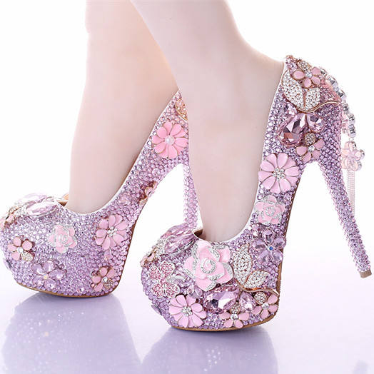 BS030 Bling Women Wedding shoes High heels platform shoe leather insole round toe Pumps 2020 Female stage shoes plus size