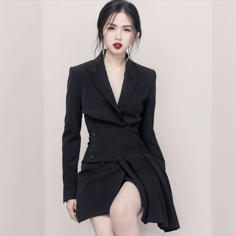 MZ18367 Guangzhou Work Clothes Women Office Ladies Sets Womens Dress V-neck Long Sleeves Suits