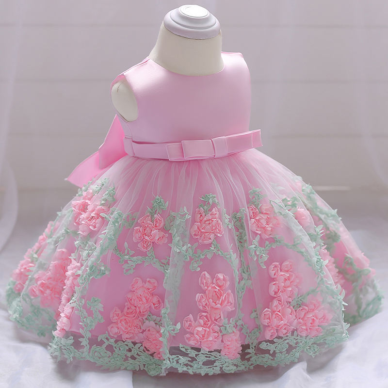 Embroidery Flower Baby Girl Maxi First Communion Dress With Lovely Bow L1845XZ