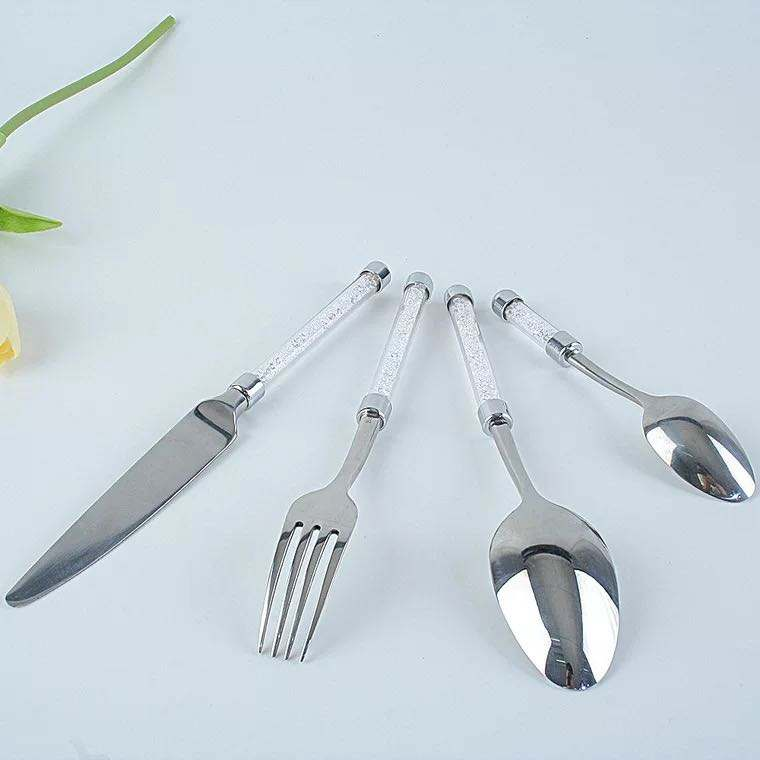 Hot selling glass handle flatware 4 pc clear flakes spoon and fork cutlery set with gift box package