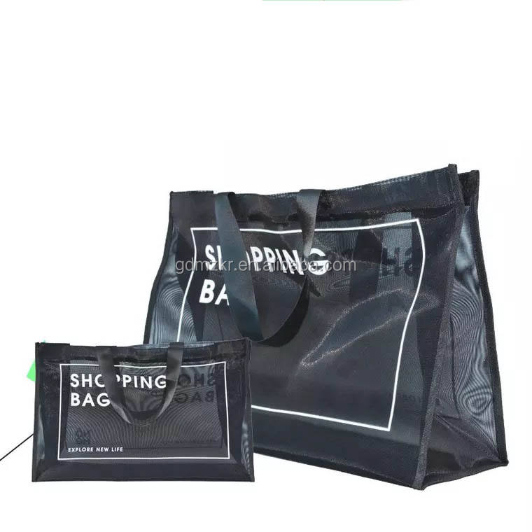 China supplies high quality reusable black nylon wire mesh shopping tote bag