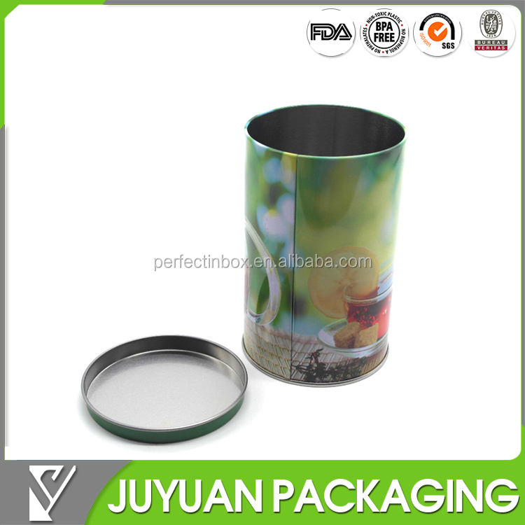 Custom round iron metal tin cans containers for tea wholesale