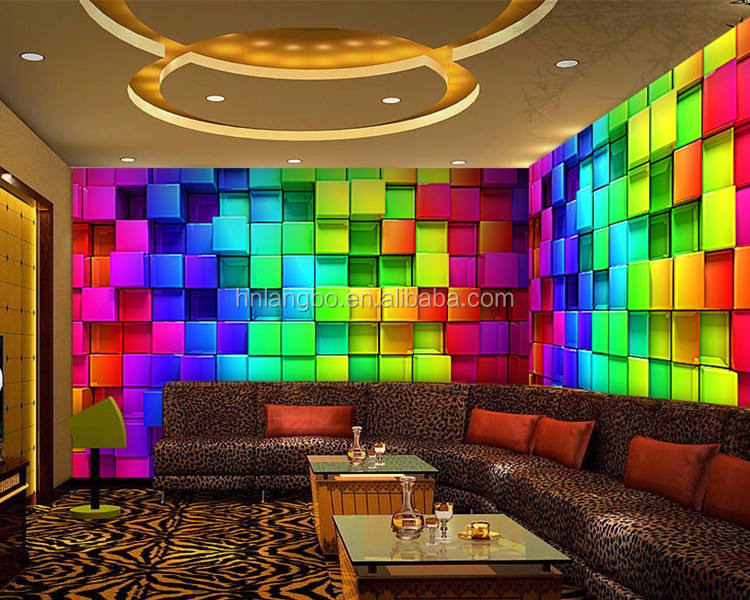 Pvc behang 3d behang mural moderne achtergrond colours plaid behang muurschildering nachtclub decoratie