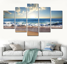 Modern 5 Piece Sunrise Seascape Home Art Painting Picture Artwork Canvas Print for Wall Decoration