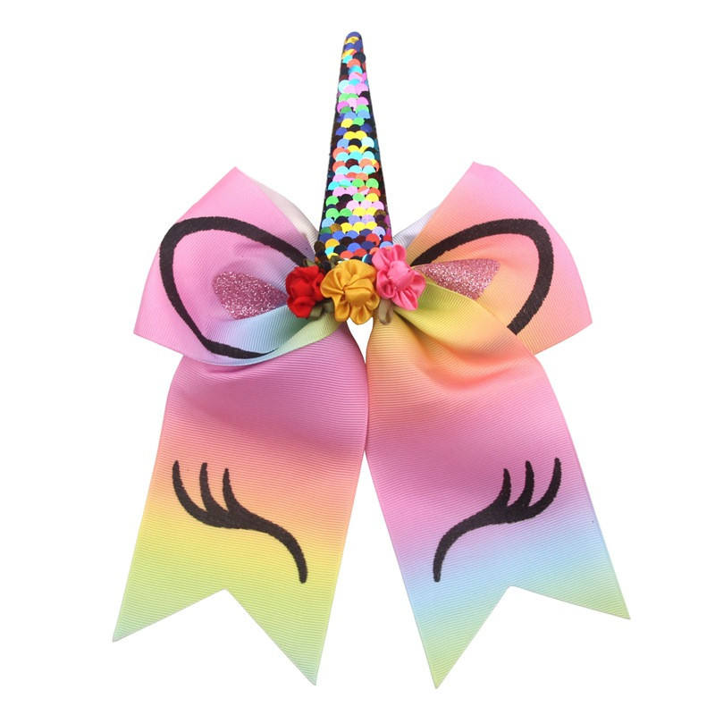 7 Inch Large Unicorn Horn Cheer Bows for Girls Glitter Printed Elastic Band Hair Bow with Flowers Children Hair Accessories D735