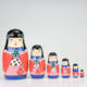 Matryoshka Dolls Nesting Stacking Wooden Russian Toys with Flower Ornament Hand Painted Wood Souvenir Folk Art