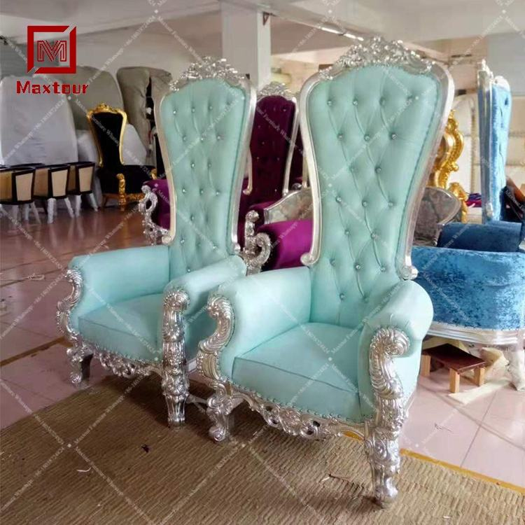 Royal wooden king throne high back sofa chairs for wedding of luxury item