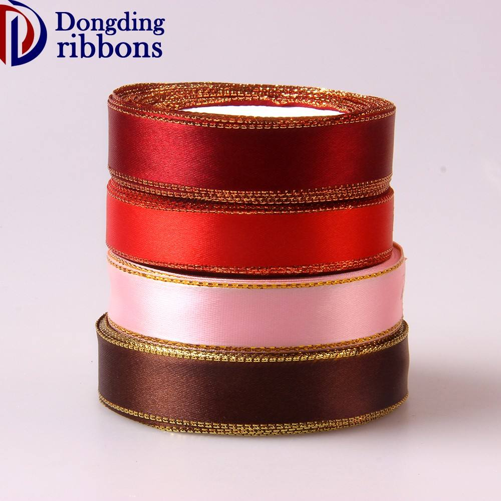 "Italy market wholesale big 3mm 1/8""inch -75mm 3"" inch gold stripe satin embroidery italian ribbon"